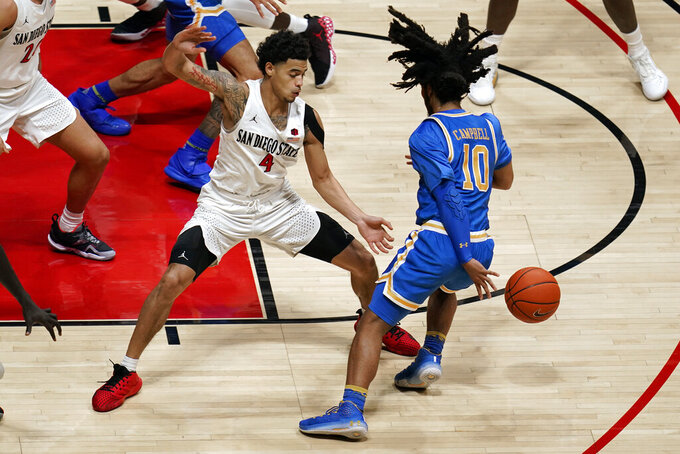 UCLA guard Tyger Campbell (10) dribbles behind his back as San Diego State guard Trey Pulliam defends during the first half of an NCAA college basketball game Wednesday, Nov. 25, 2020, in San Diego. (AP Photo/Gregory Bull)
