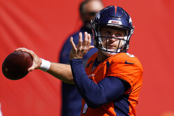 Denver Broncos quarterback Jeff Driskel warms up before an NFL football game against the Tampa Bay Buccaneers, Sunday, Sept. 27, 2020, in Denver. (AP Photo/Jack Dempsey)