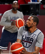 United States' Kevin Durant looks to shoot during a men's basketball practice at the Tokyo 2020 Olympics, in Saitama, Japan, Thursday, July 22, 2021. (AP Photo/David Goldman)