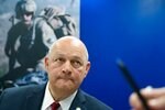 U.S. Federal Aviation Administration administrator Steve Dickson speaks to journalists at the Dubai Airshow in Dubai, United Arab Emirates, Wednesday, Nov. 20, 2019. Dickson said Wednesday that the FAA wouldn't be pressured to rush approvals to allow the troubled Boeing 737 Max to fly again. (AP Photo/Jon Gambrell)