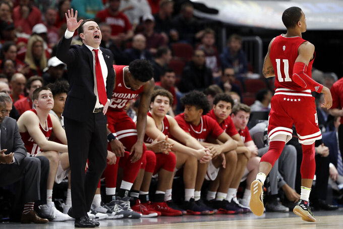 Indiana head coach Archie Miller directs his team during the second half of an NCAA college basketball game against the Ohio State in the second round of the Big Ten Conference tournament, Thursday, March 14, 2019, in Chicago. (AP Photo/Nam Y. Huh)