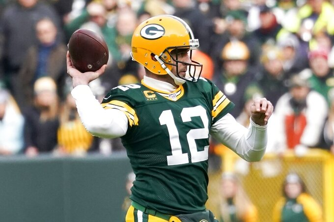 Green Bay Packers' Aaron Rodgers throws during the first half of an NFL football game against the Washington Redskins Sunday, Dec. 8, 2019, in Green Bay, Wis. (AP Photo/Morry Gash)