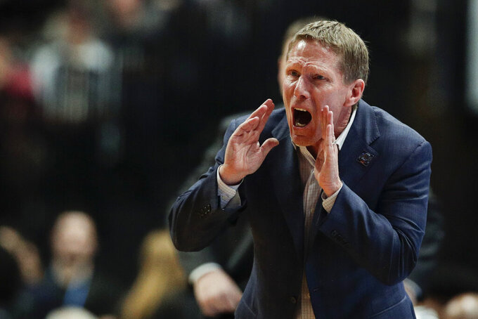 FILE - In this March 30, 2019, file photo, Gonzaga coach Mark Few shouts during the second half of the team's West Regional final against Texas Tech in the NCAA men's college basketball tournament, in Anaheim, Calif. (AP Photo/Jae C. Hong, File)