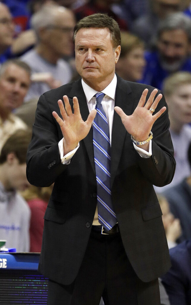 Kansas head coach Bill Self calls a play during the first half of an NCAA college basketball game against Iowa State in Lawrence, Kan., Monday, Jan. 21, 2019. (AP Photo/Orlin Wagner)