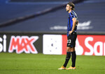 Atalanta's Hans Hateboer reacts after his team's loss in the Champions League quarterfinal match between Atalanta and PSG at Luz stadium, Lisbon, Portugal, Wednesday, Aug. 12, 2020. (David Ramos/Pool Photo via AP)