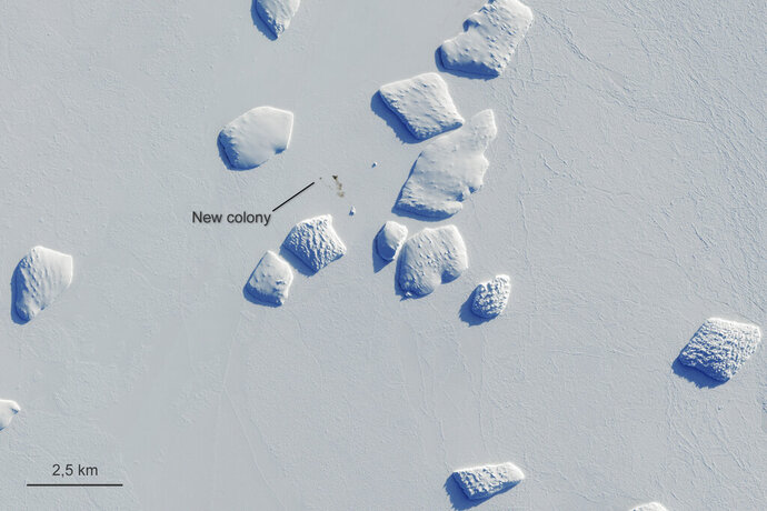 Markings points to a patch of penguin guano on an image captured by the Copernicus Sentinel-2 satellite mission Aug. 26, 2019. British scientists say they've confirmed that there are more emperor penguin colonies in Antarctica than previously thought. Researchers at the British Antarctic Survey used satellite images to spot tell-tale evidence of bird droppings. (Copernicus Sentinel-2/ESA via AP)