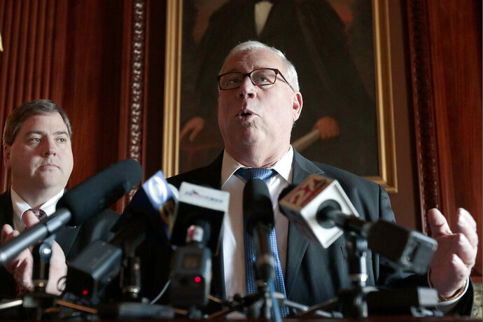 FILE - In this Jan. 13, 2015 file photo, Sen. Luther Olsen, R-Ripon speaks during a news conference in the at the State Capitol in Madison, Wis. The longtime Republican state lawmaker said Monday, Feb. 24, 2020 that will not seek re-election. He announced Monday that he will step down after serving 16 years in the Senate. (M.P. King/Wisconsin State Journal via AP, File)