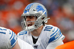Detroit Lions quarterback David Blough makes a call during the second half of an NFL football game against the Denver Broncos, Sunday, Dec. 22, 2019, in Denver. (AP Photo/David Zalubowski)