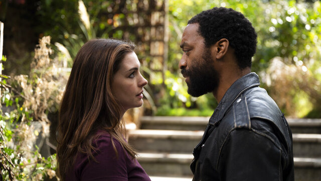 This image released by HBO Max shows Anne Hathaway and Chiwetel Ejiofor in a scene from