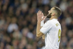 Real Madrid's Karim Benzema reacts after failing a scoring chance during a Spanish La Liga soccer match between Real Madrid and Athletic Bilbao at the Santiago Bernabeu stadium in Madrid, Spain, Sunday Dec. 22, 2019. (AP Photo/Paul White)