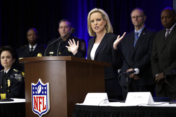 Secretary of Homeland Security Kirstjen Nielsen speaks during a security news conference for the NFL Super Bowl 53 football game Wednesday, Jan. 30, 2019, in Atlanta. (AP Photo/David J. Phillip)