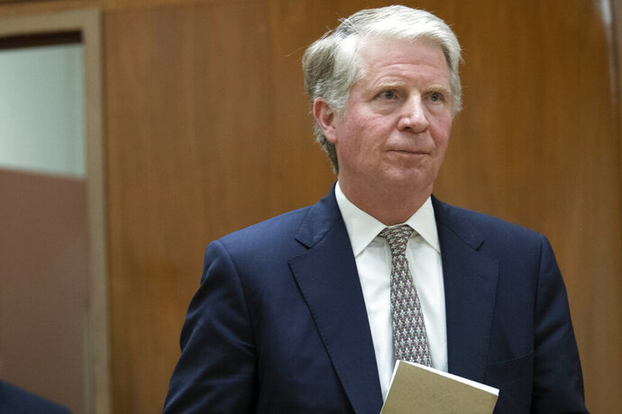 FILE - In this April 18, 2017, file photo Manhattan District Attorney Cyrus R. Vance, Jr. arrives to talk to reporters in New York. The Supreme Court ruled on Thursday, July 9, 2020, that Vance can obtain President Donald Trump's tax returns for a criminal investigation, but sent a second request by Congress for the records back to lower courts. Here are some key questions and answers stemming from the decision. (AP Photo/Mary Altaffer, File)