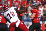 Western Kentucky quarterback Steven Duncan (10) looks to throw downfield in the first half of an NCAA college football game against Louisville, Saturday, Sept. 14, 2019, in Nashville, Tenn. (AP Photo/Mike Strasinger)