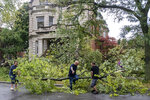 Neighbors clear a downed tree along Logan Boulevard on Monday, Aug. 10, 2020, after a large storm passed through Chicago. (Brian Cassella/Chicago Tribune via AP)