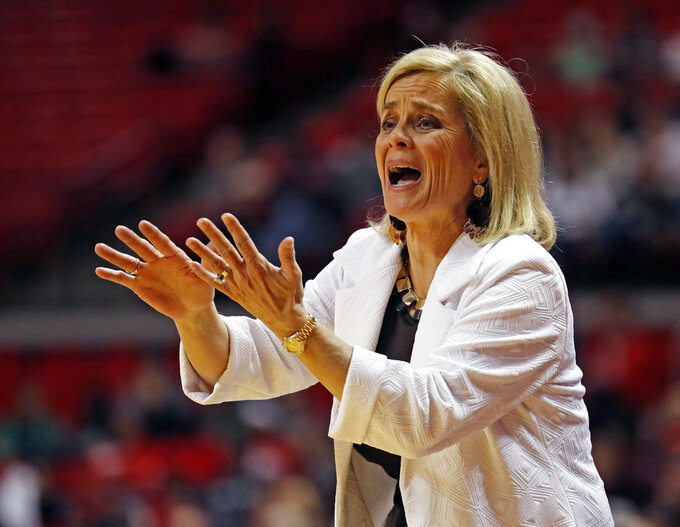 Baylor coach Kim Mulkey reacts to a call by the referees during the second half of an NCAA college basketball game against Texas Tech, Sunday, Jan. 6, 2019, in Lubbock, Texas. (Brad Tollefson/Lubbock Avalanche-Journal via AP)