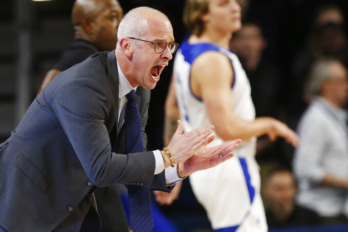 Connecticut coach Dan Hurley shouts during the first half of the team's NCAA college basketball game against Tulsa in Tulsa, Okla., Thursday, Feb. 6, 2020. (AP Photo/Sue Ogrocki)