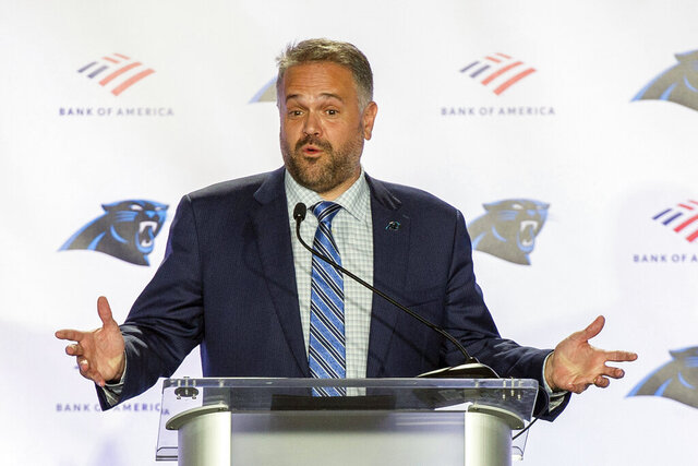 FILE - In this Jan. 8, 2020, file photo, Carolina Panthers NFL football team head coach Matt Rhule talks to the media during a news conference at the teams practice facility in Charlotte, N.C. The transition from being a head coach in college to the NFL is never easy. But it's even more difficult this year for Panthers coach Matt Rhule, who is trying to build a team and some sense of chemistry virtually due to the coronavirus pandemic. (AP Photo/Mike McCarn, File)