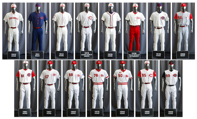 In this compilation image, the entire Cincinnati Reds baseball team uniform lineup for the 2019 season is displayed, Friday, Jan. 25, 2019, in Cincinnati. The Reds will play games in 15 sets of throwback uniforms, including navy blue and a