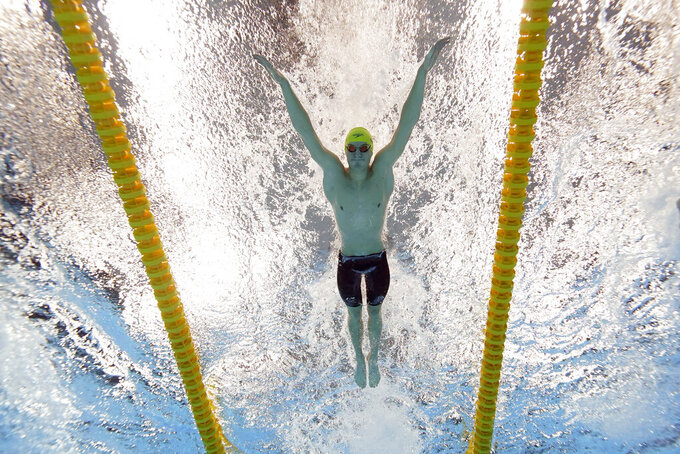 Australia's Brendon Smith swims to win the bronze medal in the 400-meter individual medley at the 2020 Summer Olympics, Sunday, July 25, 2021, in Tokyo. (AP Photo/David J. Phillip)