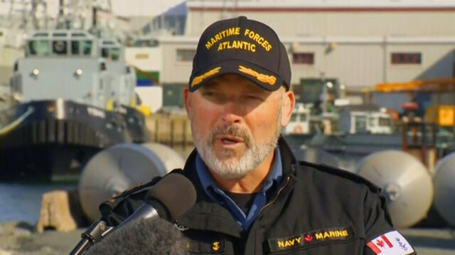 In this image made from CTV vide, Rear-Admiral Craig Baines, Commander of Maritime Command Component, speaks in a news conference in Halifax, Canada, Thursday, April 30, 2020.