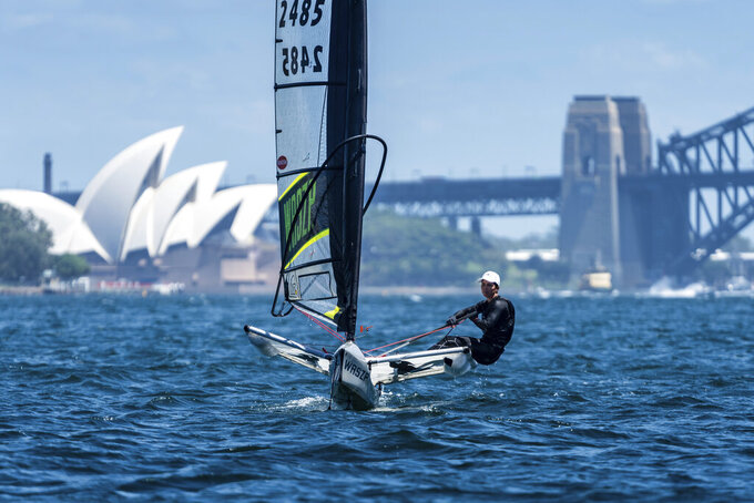 This photo provided by SailGP shows Australia SailGP women's team member Nina Curtis in Sydney, Australia on Feb. 5, 2021. Curtis also is an Olympic silver medalist and competed in the 2017/2018 Volvo Ocean Race on Team Brunel. Bryant was named the Youth World Champion in 2016 for the 29er class and also recently campaigned for the Olympics in the FX class. (Beau Outteridge/SailGP via AP)