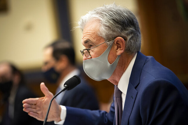 Federal Reserve Chair Jerome Powell testifies during a House Financial Services Committee hearing about the government's emergency aid to the economy in response to the coronavirus on Capitol Hill in Washington on Tuesday, Sept. 22, 2020. (Caroline Brehman/Pool via AP)
