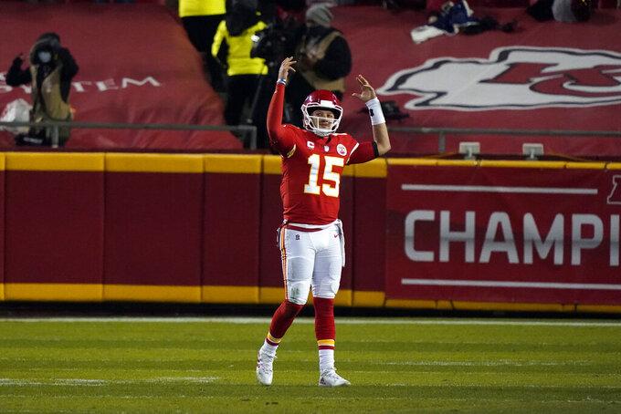 Kansas City Chiefs quarterback Patrick Mahomes celebrates at the end of the AFC championship NFL football game against the Buffalo Bills, Sunday, Jan. 24, 2021, in Kansas City, Mo. The Chiefs won 38-24. (AP Photo/Jeff Roberson)