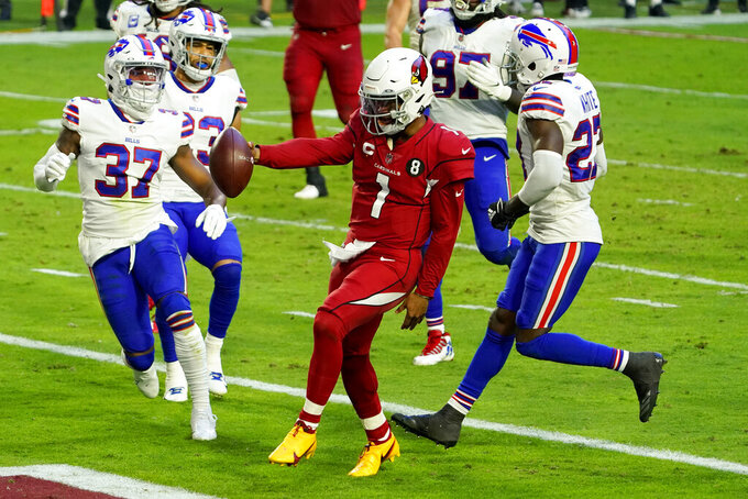Arizona Cardinals quarterback Kyler Murray (1) runs for a touchdown against the Buffalo Bills during the second half of an NFL football game, Sunday, Nov. 15, 2020, in Glendale, Ariz. (AP Photo/Rick Scuteri)
