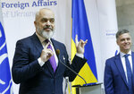 OSCE Chairperson in Office, Albania's Prime Minister Edi Rama, left, and Ukrainian Minister for Foreign Affairs Vadym Prystayko attend a news conference Kyiv, Ukraine, Monday, Jan. 20, 2020. (AP Photo/Efrem Lukatsky)