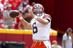 Cleveland Browns quarterback Baker Mayfield warms up before the start of an NFL football game against the Kansas City Chiefs Sunday, Sept. 12, 2021, in Kansas City, Mo. (AP Photo/Ed Zurga)