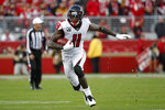 Atlanta Falcons wide receiver Julio Jones (11) runs against the San Francisco 49ers during the second half of an NFL football game in Santa Clara, Calif., Sunday, Dec. 15, 2019. (AP Photo/Josie Lepe)