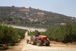 FILE - In this Aug. 27, 2019, file photo, a farmer drives his tractor in an apple planation along the Israel-Lebanon border. Israel's military said it began construction of an underground defense system Sunday along its northern frontier with Lebanon to protect against cross-border tunnels. (AP Photo/Ariel Schalit, File)