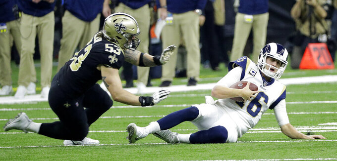 Los Angeles Rams' Jared Goff runs during the first half of the NFL football NFC championship game against the New Orleans Saints, Sunday, Jan. 20, 2019, in New Orleans. (AP Photo/David J. Phillip)