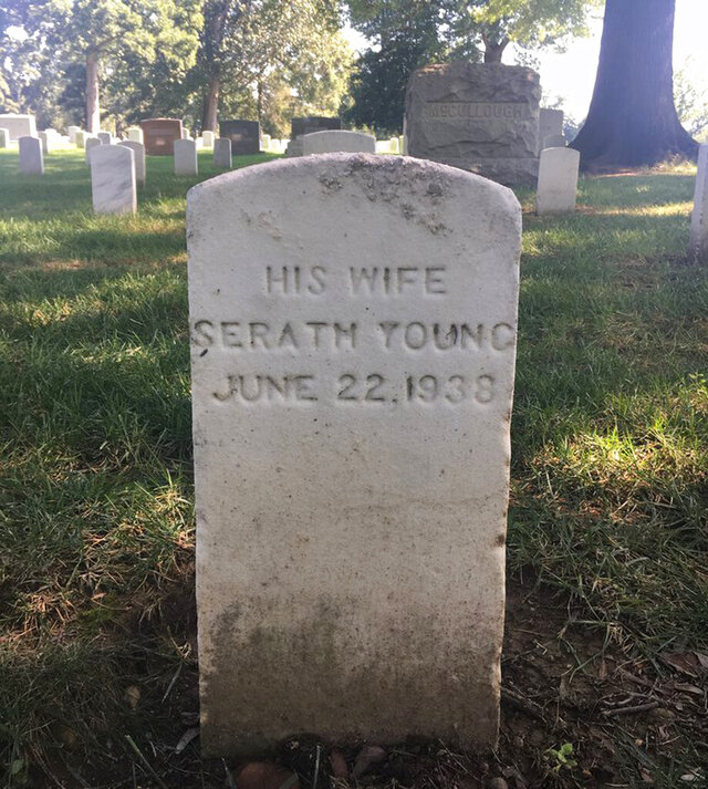 In this photo provided by Better Days 2020, a headstone for Seraph Young of Utah, is shown with a misspelled first name in 2018 at Arlington National Cemetery in Arlington, Va. For more than 80 years, the grave of the first woman to vote under an equal suffrage law in the United States was marked with a misspelled name. Not anymore. The Salt Lake Tribune reports the descendants of Seraph Young joined Utah Gov. Gary Herbert and others this week to correct her headstone. (Katherine Kitterman/Better Days 2020 via AP)