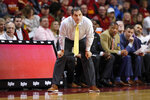 Iowa State head coach Steve Prohm watches from the bench during the first half of an NCAA college basketball game against Mississippi Valley State, Tuesday, Nov. 5, 2019, in Ames, Iowa. (AP Photo/Charlie Neibergall)