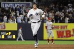 New York Yankees' Aaron Judge runs the bases after hitting a two-run home run during the third inning of the team's baseball game Wednesday, Sept. 18, 2019, in New York. (AP Photo/Frank Franklin II)