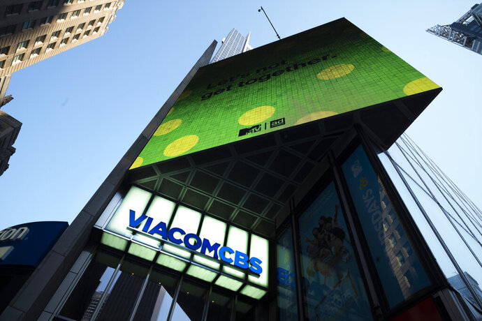 FILE - In this Aug. 5, 2020 file photo, the ViacomCBS headquarters is shown in New York's Times Square. ViacomCBS will rebrand its CBS All Access streaming service as Paramount Plus, set to debut early next year with new original shows. The exact launch date and pricing haven't been disclosed.(AP Photo/Mark Lennihan, File)