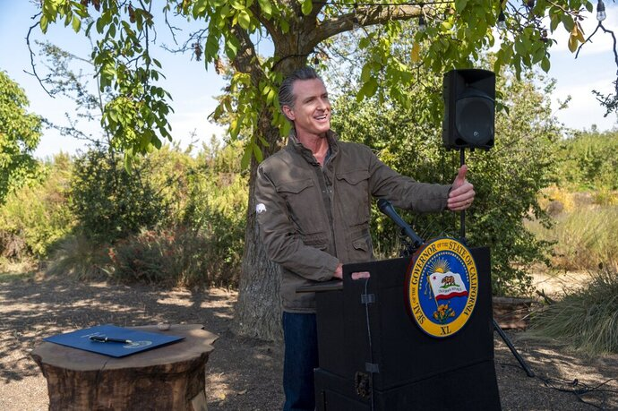 DELETES REFERENCE TO SOLANO COUNTY - California Gov. Gavin Newsom speaks during a news conference at Sierra Orchards walnut farm in Winters, Calif., Wednesday, Oct. 7, 2020. Newsom signed an executive order Wednesday to protect nearly a third of California's land and coastal waters in his latest effort to fight climate change that he has blamed for recent record-breaking wildfires. (Renée C. Byer/The Sacramento Bee via AP, Pool)