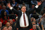 FILE - In this Dec. 20, 2018, file photo, Texas Tech coach Chris Beard directs his team against Duke during the second half of an NCAA college basketball game, in New York. Beard was named the Big 12 Conference Coach of the Year, Tuesday, March 12, 2019.  (AP Photo/Adam Hunger, File)