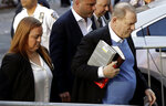 Harvey Weinstein arrives at the first precinct while turning himself to authorities following allegations of sexual misconduct, Friday, May 25, 2018, in New York. (AP Photo/Julio Cortez)