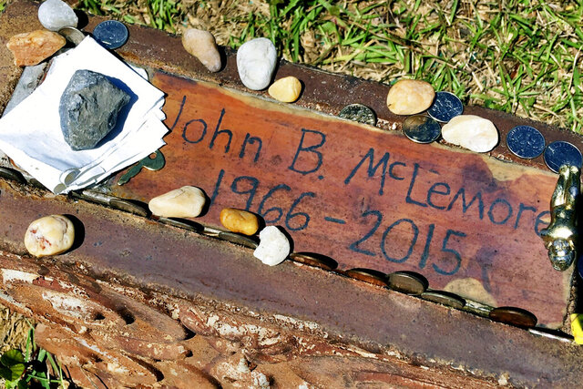 FILE - This May 3, 2017, file photo, shows the grave of John B. McLemore in Green Pond, Ala., who is featured in the serialized podcast