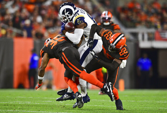 Los Angeles Rams tight end Gerald Everett (81) runs for a first down during the first half of an NFL football game against the Cleveland Browns, Sunday, Sept. 22, 2019, in Cleveland. (AP Photo/David Dermer)