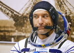 Italian astronaut Luca Parmitano, member of the main crew of the expedition to the International Space Station (ISS), gestures, prior to the launch of Soyuz MS-13 space ship at the Russian leased Baikonur cosmodrome, Kazakhstan, Saturday, July 20, 2019. (AP Photo/Dmitri Lovetsky)