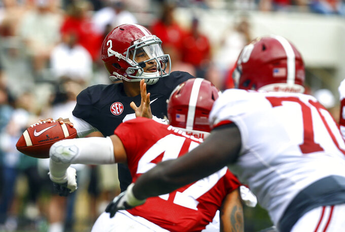 With Tagovailoa out, Hurts is so-so in Alabama spring game