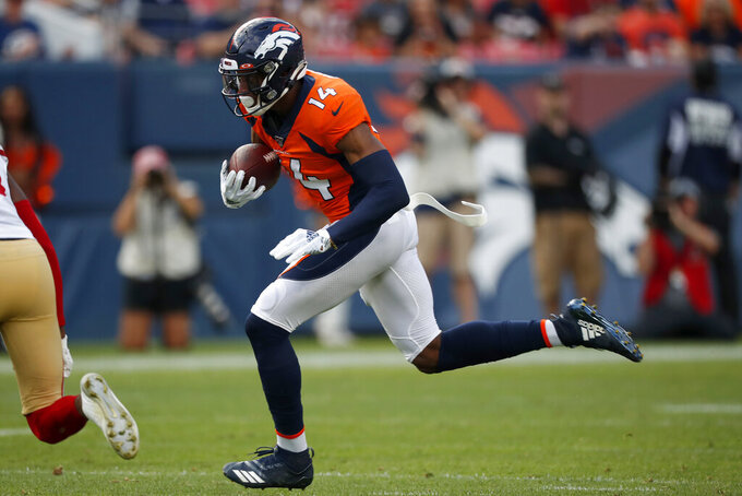 Denver Broncos wide receiver Courtland Sutton (14) runs against the San Francisco 49ers during an NFL preseason football game, Monday, Aug. 19, 2019, in Denver. (AP Photo/David Zalubowski)