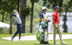 Adam Long hits from the fairway on the 18th hole during the first round of the John Deere Classic at TPC Deere Run in Silvis, Ill., Thursday, July 11, 2019. (Andy Abeyta/Quad City Times via AP)
