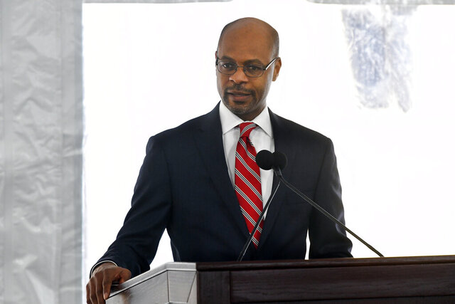 FILE - Harold Melton, Chief Justice for the Supreme Court of Georgia, speaks during a dedication of the state's new Nathan Deal Judicial Center Tuesday, Feb. 11, 2020, in Atlanta. Judges say Georgia's court system could take years to dig out of a backlog of jury trials delayed because of the coronavirus pandemic. Melton told lawmakers during hearings Wednesday, Jan. 20, 2021 that it could take one to two years to catch up. (AP Photo/John Amis)