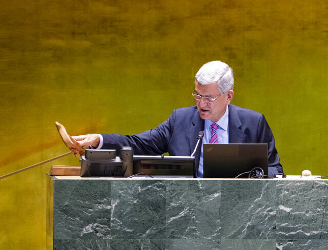 In this photo provided by the United Nations, Volkan Bozkir, President of the seventy-fifth session of the United Nations General Assembly, chairs the General Assembly: General Debate, during the 75th session of the United Nations General Assembly, Thursday, Sept. 24, 2020, at UN headquarters in New York. The U.N.'s first virtual meeting of world leaders started Tuesday with pre-recorded speeches from some of the planet's biggest powers, kept at home by the coronavirus pandemic that will likely be a dominant theme at their video gathering this year. (Rick Bajornas/UN Photo via AP)