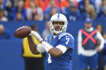 Indianapolis Colts quarterback Jacoby Brissett (7) throws during the first half of an NFL football game against the Denver Broncos, Sunday, Oct. 27, 2019, in Indianapolis. (AP Photo/AJ Mast)