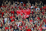 Hong Kong soccer fans sing during the FIFA World Cup Qatar 2022 and AFC Asian Cup 2023 Preliminary Joint Qualification Round 2 soccer match between Hong Kong and Iran, in Hong Kong, Tuesday, Sept. 10, 2019. The crowd broke out into